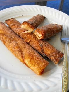 Crunchy Snickerdoodle Wraps small flour tortillas (8inch or less) cream cheese jam ½ cup sugar 1 Tbsp cinnamon Fry in oil then roll in cinnamon and sugar