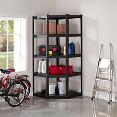 Corner Industrial Storage Shelves. & Whalen Extra Shelf Kit | HOME DECOR - GARAGE | Pinterest | Shelves ...
