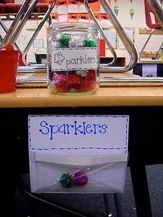 "Classroom management: student earn ""sparklers"" for good behavior. Six sparklers for student or for team earns student or team a reward. Can hang on students chairs or at front of classroom on bulletin board Classroom Fun, Kindergarten Classroom, Future Classroom, Classroom Organization, Classroom Activities, Behavior Incentives, Classroom Behavior Management, Behaviour Management, Classroom Incentives"