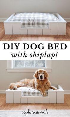 Dyi Dog Bed, Dog Bed Frame, Wood Dog Bed, Cute Dog Beds, Puppy Beds, Diy Bed, Outside Dog Bed, Farmhouse Dog Beds, Dog Decorations