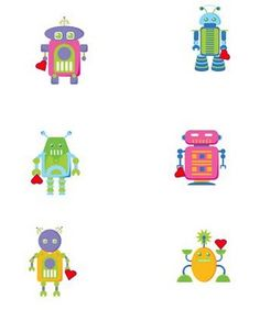 Robot Characters (memory game idea) - free printable