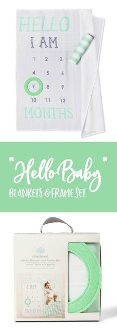 Hello Baby Muslin Blankets with Felt Frame - Cloud Island™️ Mint #affiliate #target #baby #milestones #photoprop #monthlypics #giftideas