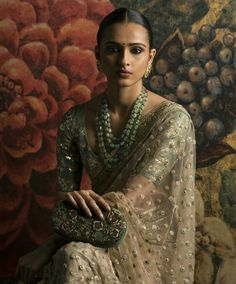 Sabyasachi Mukherjee (Spring/Summer Models - Gazi, Namrata Sheth, Vishakha Bhardwaj and Kanishtha Dhankar Indian Look, Dress Indian Style, Indian Dresses, Indian Outfits, Indian Clothes, Sabyasachi Sarees, Indian Sarees, Anarkali, Lehenga Choli