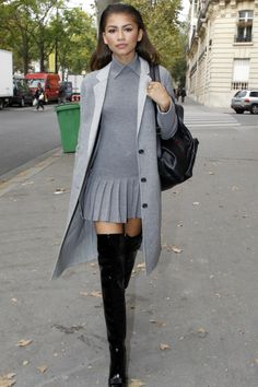 Pleated grey + tall boots
