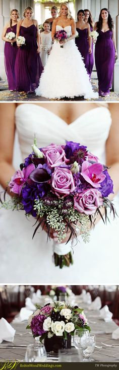 I like how the bride has color in her purple bouquet with roses, orchids and callas and the bridesmaids have white - contrast