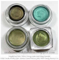 Green cream eyeshadows: Maybelline Color Tattoo in Mossy Green and Edgy Emerald, Estee Lauder Double Wear Shadow Creme in Precious Jade, Hard Candy Pining 4 U Green Cream, Olive Green, Serenity Garden, Maybelline Color Tattoo, Estee Lauder Double Wear, Green Photo, Cream Eyeshadow, Room Colors, Family Photos