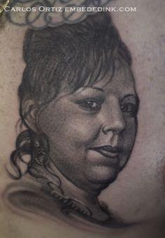 9ecf4b1bd mom portrait tattoo by Carlos Ortiz in blue Island, IL. just south of  chicago embededink.com. Embeded Ink