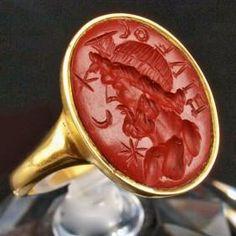 A Roman Jasper Intaglio Ring Stone of Serapis, 2nd century A.D.