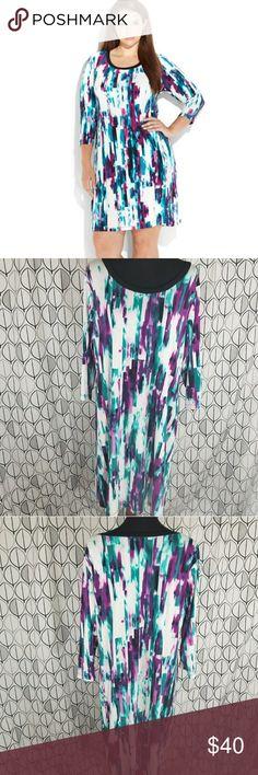 Calvin Klein Purple Teal Geoprint 3/4 Sleeve Dress Calvin Klein Purple green and white shift dress in Plus size 1x. Stretchy material very flattering and vibrant.  Geoprint shift dress mid length. Calvin Klein Dresses Midi