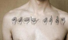 "Sign language tattoo- it reads ""Stay True"" Retro Tattoos, Girly Tattoos, Arm Tattoos For Guys, Trendy Tattoos, Popular Tattoos, Tattoos For Women, Unique Tattoos, Beautiful Tattoos, Meaningful Tattoos For Girls"