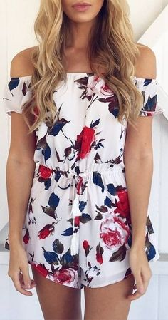 #summer #muraboutique #outfitideas | White Floral Bardot Playsuit