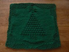 christmas tree knitted dishcloth | Hand Knit Holiday Tree All Cotton Picture Dishcloth or Washcloth ...
