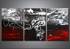 Cheap canvas jacket, Buy Quality canvas glove directly from China canvas wall decor Suppliers: Hand Painted Modern Abstract Oil Painting Red White Line Large 3 Panel Art Canvas Home Decoration For Living Room Wall Picture Modern Painting, Black And White Wall Art, Abstract Art Collection, Oil Painting On Canvas, Painting, Oil Painting Abstract, Art, Abstract, Red Wall Art