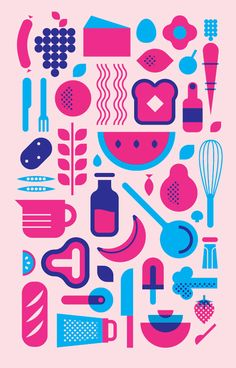 Saved by Jo Mansfield (joannamansfield). Discover more of the best Illustration, Jo, Mansfield, Pink, and Blue inspiration on Designspiration Flat Illustration, Food Illustrations, Graphic Design Illustration, Food Graphic Design, Art Folder, Affinity Designer, Retro Advertising, Design Graphique, Icon Design