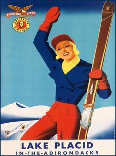 Lake-Placid-Adirondacks-Ski-New-York-United-States-Travel-Advertisement-Poster