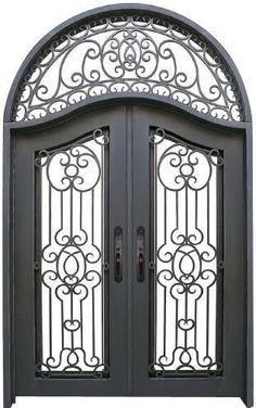 x Wrought Iron Entry Doors with Glass and transom Entry Doors With Glass, Double Entry Doors, Glass Door, Front Doors, Exterior Entry Doors, Entry Gates, Door Entry, Door Gate, Entryway