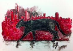 The Cat That Walked by Himself, and all places were alike to him. mixed media on board. Walking By, A4, Mixed Media, Places, Board, Painting, Painting Art, Mixed Media Art, Paintings