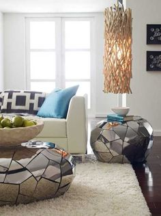 coffee table and side table with metal mosaic tiles