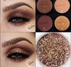 Using all Motives Cosmetics: 1 - Hazelnut on lid & lower lash / 2 - Vino in the crease / 3 - In The Buff to transition and blend out / 4 - Bronze Goddess on the lower lash. *Add Motives Glitter Adhesive on top of the shadow on the lid and apply Motives Gem Dust in 24k to glamify. Add brown gel lingers CHOCOHOLIC in waterline and LITTLE BLACK DRESS for top wing liner.