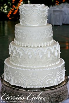 """""""Nanette"""" Royal Icing Lambeth Method Over Piping 4-tier Wedding Cake by Carries Cakes"""