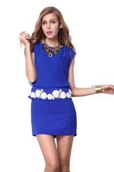 Blue Sleeveless Embroidery Bandeau Bodycon Dress #EasyNip