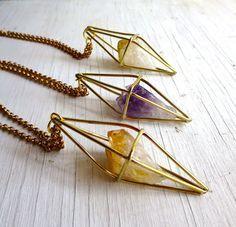 Collier Citrine, cristal de Caged géométriques en laiton, Himmeli, Chaseandscout C & S Himmeli collier de Citrine, Bijoux Citrine