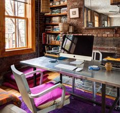 Small-Industrial-Style-Home-Office-with-Exposed-Brick