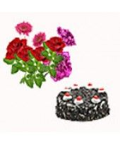 Seasonal Flower Arrangement ( consisting of 4 Roses, 2 Gerberas, 2 carnations with Fillers) with Lbs Black Forest Cake Seasonal Flowers, Fresh Flowers, Magic Online, Valentine Day Gifts, Valentines, Online Flower Shop, Best Valentine's Day Gifts, Forest Cake, Gifts For Your Boyfriend