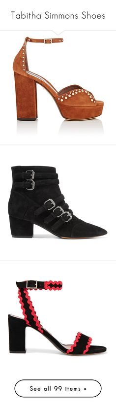 """""""Tabitha Simmons Shoes"""" by designing-myworld ❤ liked on Polyvore featuring shoes, sandals, sapatos, peep toe block heel sandals, high heeled footwear, high heel platform shoes, ankle strap sandals, suede platform sandals, boots and ankle booties"""