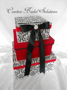 Wedding - Stationery  Beautiful 3 tier card box done in black and white Madison damask with Red satin fabric. Top box is decorated with a black satin ribbon bow and a silver rhinestone button.  Sale is final
