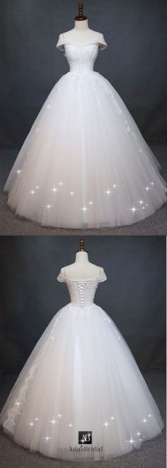 Wedding Dress Ball Gown Charming Tulle Off-the-shoulder Neckline Natural Waistline Ball Gown Wedding Dress With Beaded Lace Appliques - Wedding Dress Tea Length, Dream Wedding Dresses, Bridal Dresses, Wedding Gowns, Wedding Tips, Lace Wedding, Ball Dresses, Ball Gowns, Cinderella Wedding