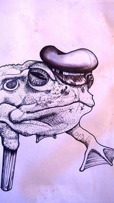 Dotwork Frosch frog Illustration Art Pirat