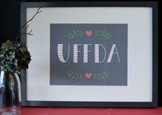 Uffda 8X10 Art Print in Coral / Grey / Green  Raindrop Print Shop on Etsy- $12