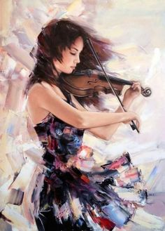 Embroidery Counted Cross Stitch Kits Needlework - Crafts 14 ct DMC DIY Arts Handmade Decor - Girl playing the Violin Music Painting, Painting & Drawing, Violin Art, Cello, Violin Music, Beautiful Paintings, Female Art, Amazing Art, Watercolor Art
