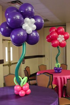 Flower Balloon Centerpiece Pink & Purple Flower Balloon Centerpiece