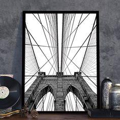 Πόστερ με ένα από τα πιο διάσημα αξιοθέατα της Νέας Υόρκης, τη Γέφυρα του Μπρούκλιν, σε μοντέρνο ασπρόμαυρο poster. #cityposter #mapposter #Brooklynsbridgeposter #γέφυρατουΜπρούκλιν #Brooklynsbridge