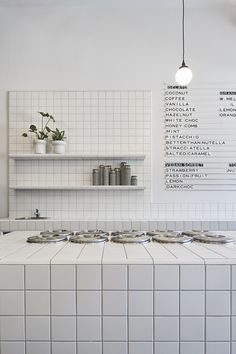 Piccolina Gelateria by Hecker Guthrie - Local Interior Design - Melbourne - The Local Project Interior Design Trends, Restaurant Interior Design, Commercial Interior Design, Commercial Interiors, Modern Restaurant, White Restaurant, Coffee Shop Design, Cafe Design, Store Design