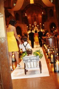 love this flower girl wagon!!!! Since our flower girl probably won't be able to walk yet...