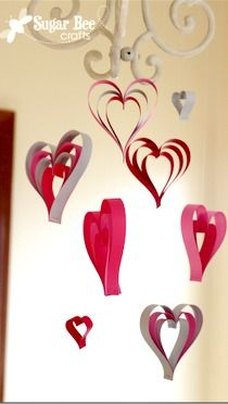 super simple valentine craft project - - just paper stapled together!! - Paper Strip Hearts ~ Sugar Bee Crafts