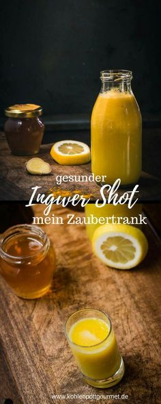Ingwer Shot – scharfer Freund in der Erkältungszeit – Recipe for ginger shot – sharp friend in cold time. A heating drink, full of power to strengthen the immune system Fast Ginger Shot RezeGinger-pomegranate-shot mGinger water with turmeric Healthy Smoothie, Healthy Drinks, Smoothies, Healthy Detox, Easy Detox, Healthy Nutrition, Natural Detox, Natural Herbs, Veggie Juice