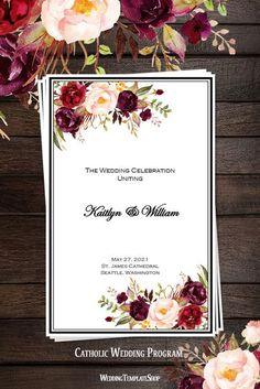 Catholic Church Wedding Program Burgundy, Red, Blush, Marsala Romantic Blossoms