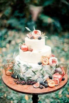 Pomegranate & berry topped wedding cake