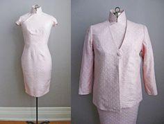 60er Jahre Kleid Rosa Gold Cheongsam Kleid von SoubretteVintage