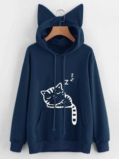 accf81155fd Gracila Casual Pure Color Cat Ears Hooded Cute Cat Pattern Printed Women  Hoodies