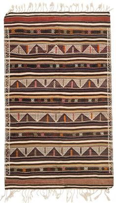 A gorgeous Brown and Beige color combination with jijim weaving technic. This ft bohemian style rug can be used as a decorative kitchen rug. Kitchen Rug, Turkish Kilim Rugs, Beige Color, Black And Brown, Bohemian Rug, Weaving, Pure Products, Antiques, Carpets