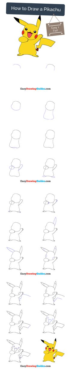 Learn How to Draw Pikachu: Easy Step-by-Step Drawing Tutorial for Kids and Beginners. #spiderman #drawing. See the full tutorial at https://easydrawingguides.com/how-to-draw-a-pikachu/