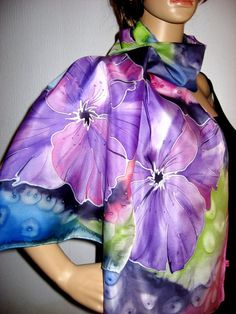 Hand Painted SILK SCARF Tropicle Flowers by SilkMagic on Etsy, $46.00