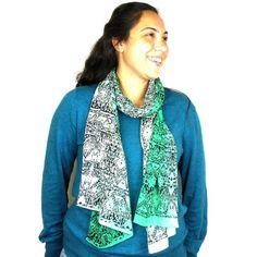 Three Shades Green Cotton Scarf Handmade for women