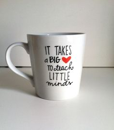 It Takes a Big Heart Ceramic Coffee Mug-Handpainted-16 oz. Teacher Gift