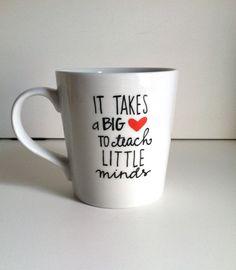 It Takes a Big Heart Ceramic Coffee Mug-Handpainted-16 oz. Teacher Gift